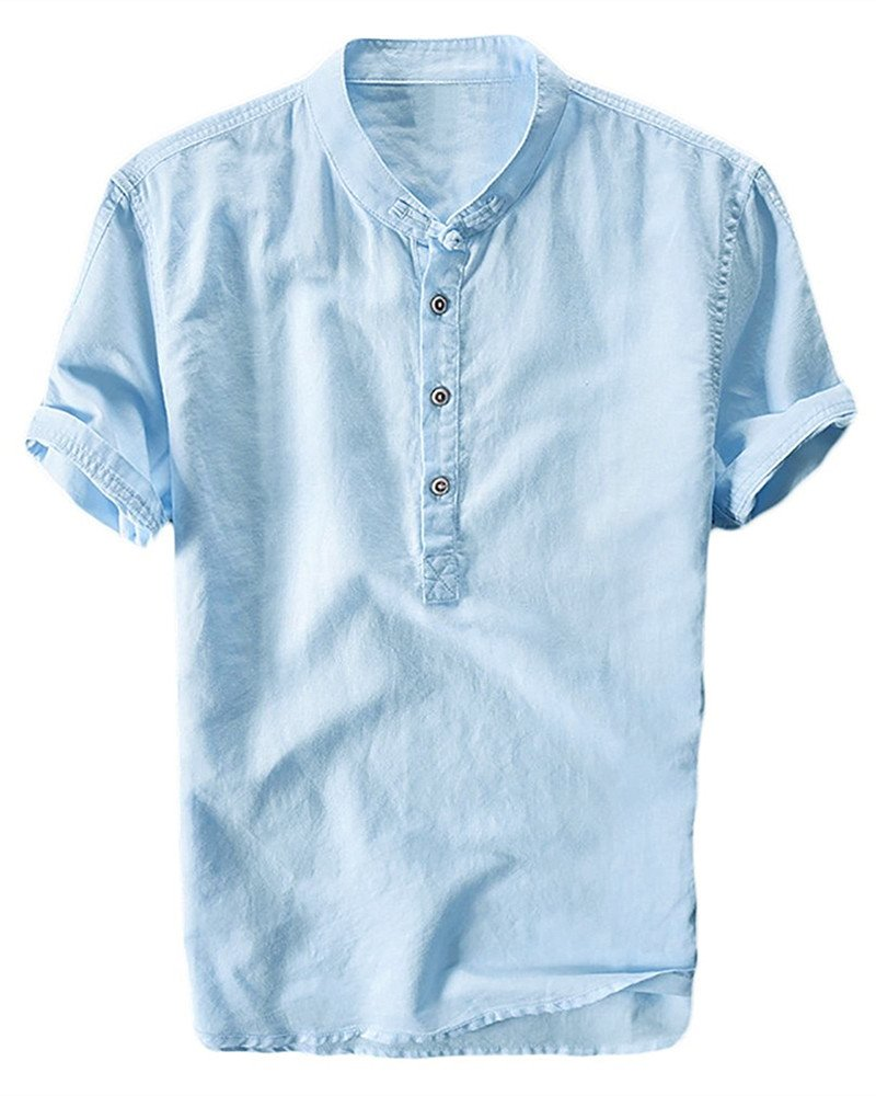 Mens Henley Shirts Linen Cotton Summer Casual Short Sleeve T-Shirts Tops
