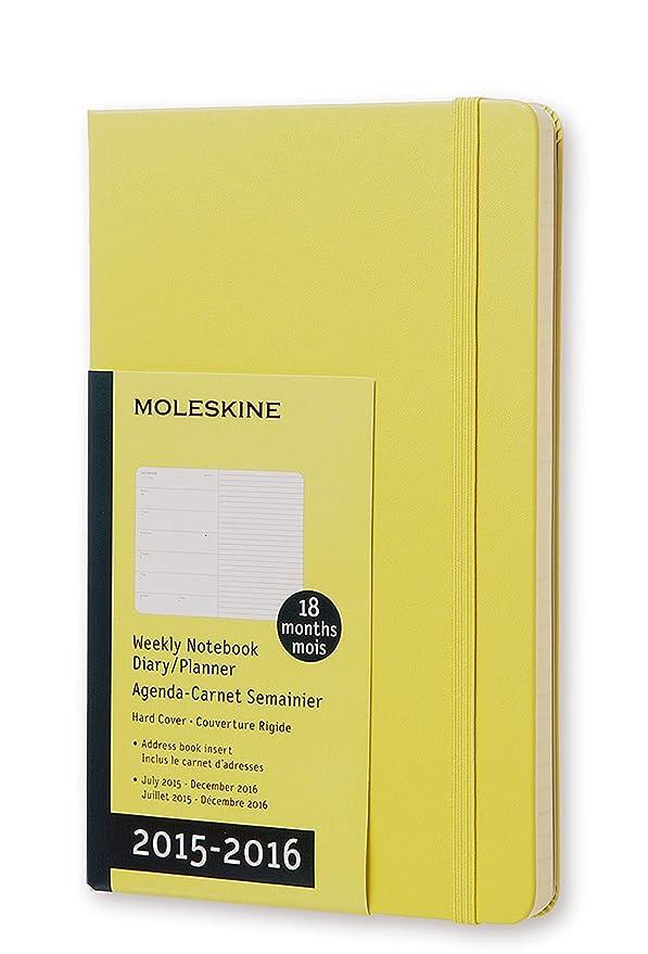 Moleskine 11409 - Agenda 18 meses, 2015-2016, semanal, tamaño grande, color amarillo pajizo