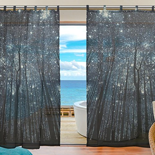 INGBAGS Bedroom Decor Living Room Decorations Night Sky Forest Starry Milky Way Tree Pattern Print Tulle Polyester Door Window Gauze / Sheer Curtain Drape Two Panels Set 55×78 inch ,Set of 2 Review