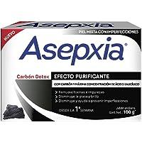 Asepxia Jabón CARBÓN DETOX, Efecto Purificante, piel mixta con imperfecciones, barra 100 g