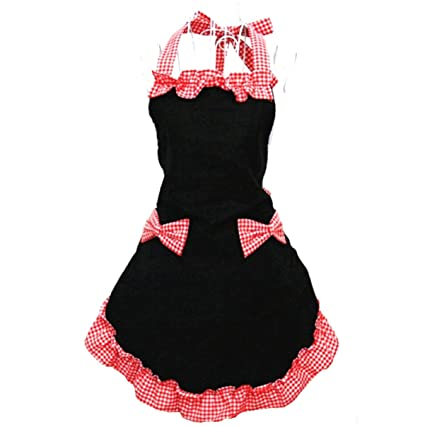 8fd233c20ea9 Amazon.com: Hyzrz Women's Apron with Pockets, Black and Red: Kitchen ...