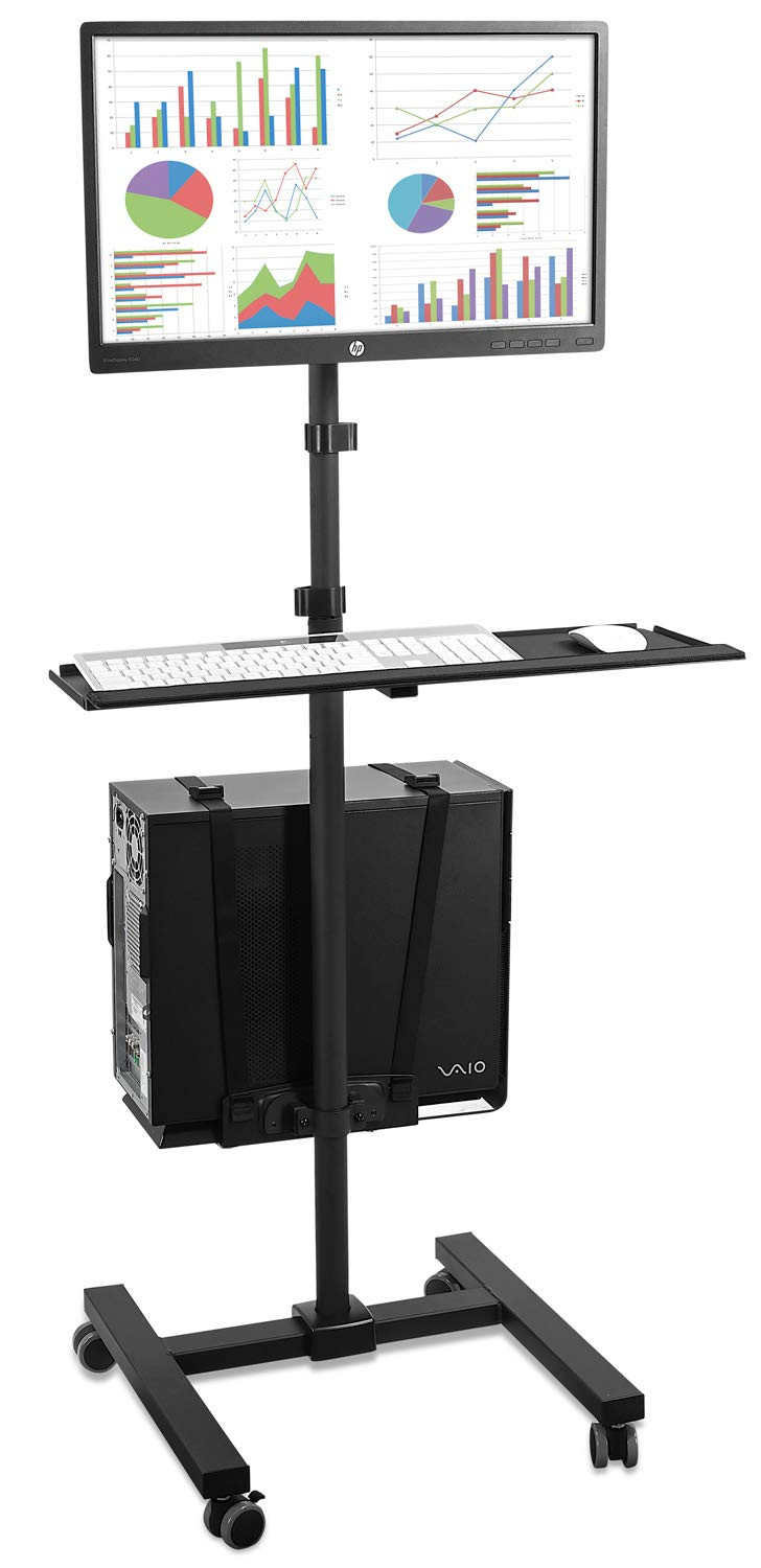 Mount-It! Rolling Computer Cart, Mobile Workstation with Tray Monitor Mount and CPU Holder, Height Adjustable and Mobile Stand for Office and Industrial Use