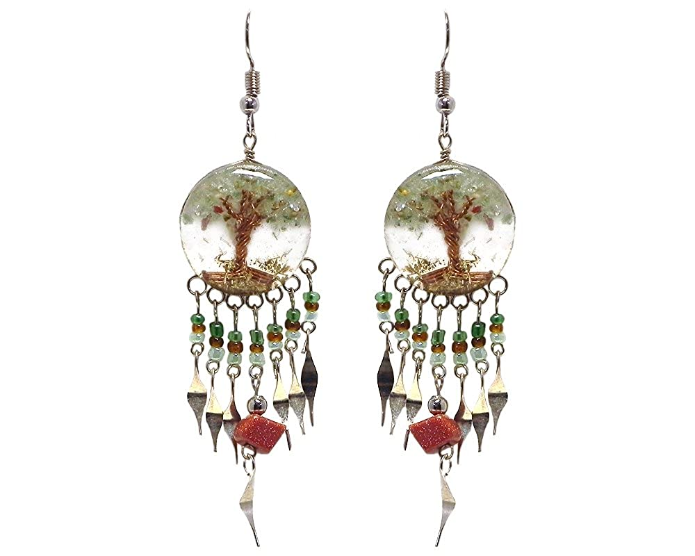 Tree of Life Crushed Chip Stone Round Acrylic Long Beaded Chip Stone Dangle Earrings