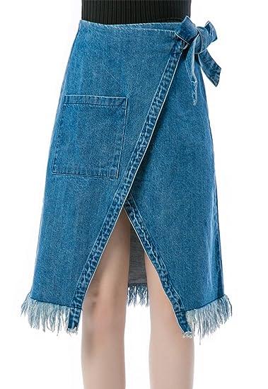 Blansdi Femme mi-longue Jupe En Denim Haute Taille Frange Fendu Slim Fit  Paquet Hanche Jupe Grand Taille Jupe De Crayone Bleu  Amazon.fr  Vêtements  et ... c7b5922e98a5