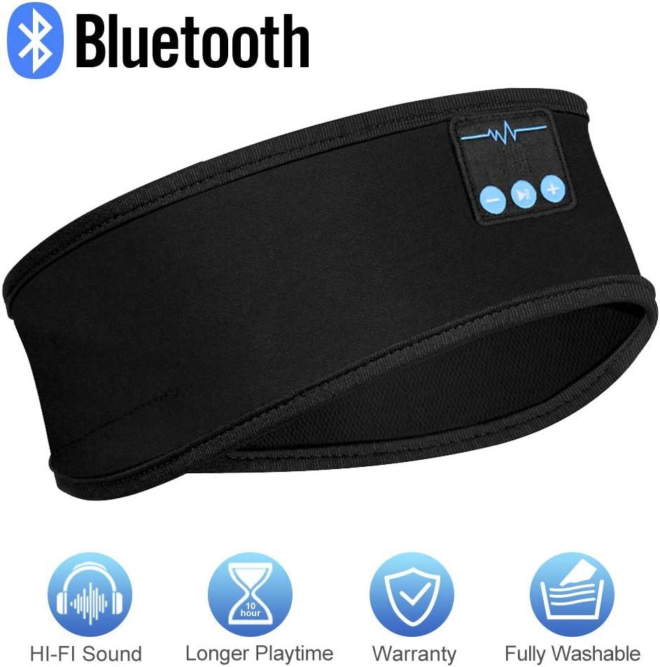 Sleep Headphones, Bluetooth Sleep Headphones, Headband Headphones with Built -in Speakers, Sports Headband with Bluetooth Headphones for Sleeping, Running, Yoga Dark Black