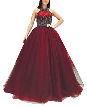 Z Sexy Halter Backless Beaded Long Quinceanera Prom Dresses Formal Evening Party Dresses for