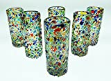 Mexican Shot Glasses, Pebble Confetti, Hand Blown, Set of 6