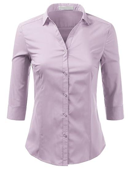 Foryous Women Button Down Shirt 3 4 Sleeve Blouses Slim Fit Plus