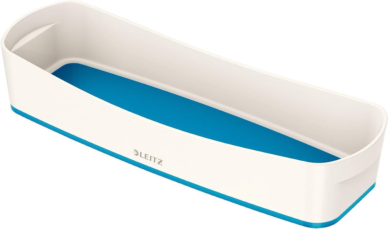 Leitz MyBox Bandeja organizadora alargada, Blanco/Azul metalizado, Plástico brillante, 52581036