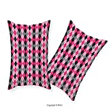 vipsung Premium Cotton Zippered Pillow Cases 2 Pack Abstract Argyle Motif with Diamonds and Lozenges Infinite Symmetric Stripes Image Baby Pink Black Grey For home decoration