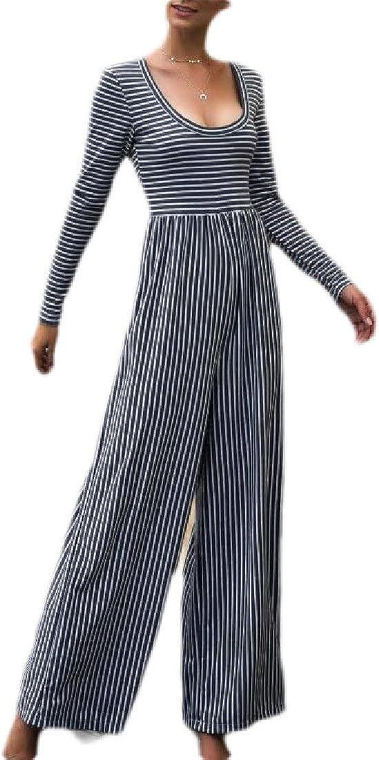 CBTLVSN Women Slim Scoop Neck Long Sleeve Stripe Print Lounge Pants Jumpsuit