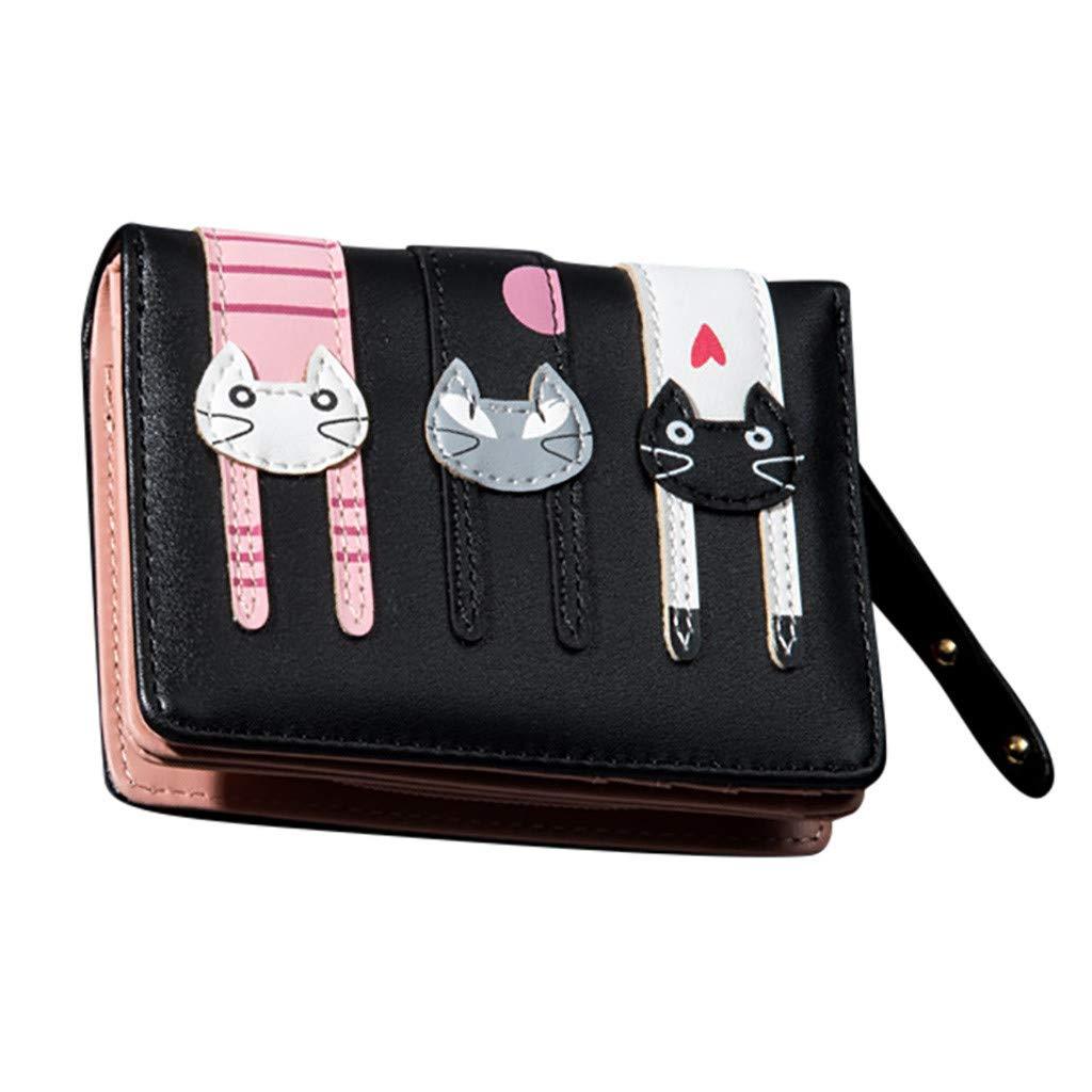 Mini Monedero de Cuero con Tres Lindos Gatos para Mujer ...