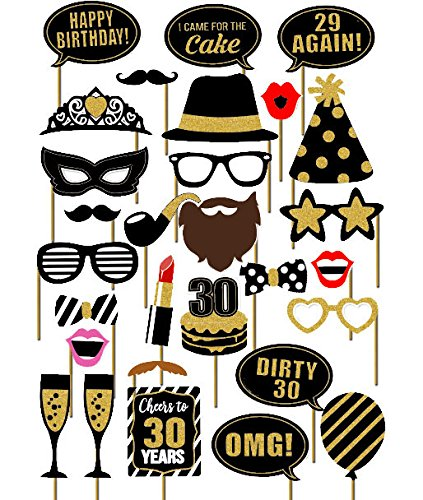 7-gost 29PCS 30th Thirtieth Year Birthday Party Masks Favor Photo Booth Props Supplies