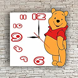 Winnie the Pooh 11.8'' Handmade Art Wall Clock - Get unique décor for home or office – Best gift ideas for kids, friends, parents and your soul mates - made of plastic