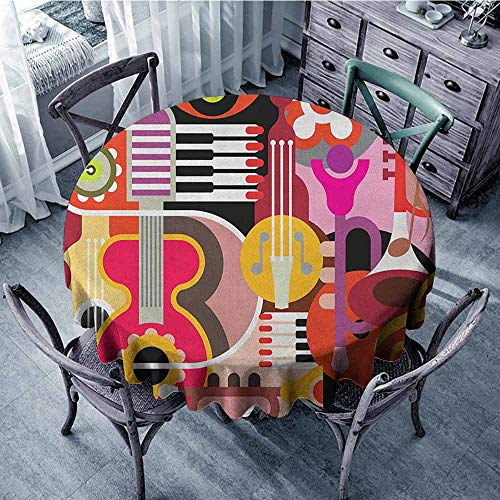 ScottDecor Print Round Tablecloth Jacquard Tablecloth Music,Complex Graphic with Various Musical Properties Icons Keyboard Festival Piano Design, Multicolor Diameter 36