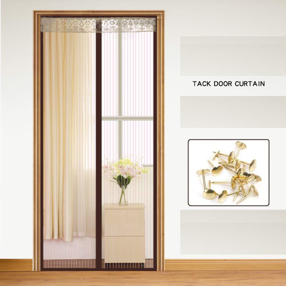 Adjustable Magnetic Screen Door,Mute Velcro Magnetic Screen Door mesh Automatically Shut Down for Front Door Patio Mesh Curtain-R 90x200cm(35x79inch)