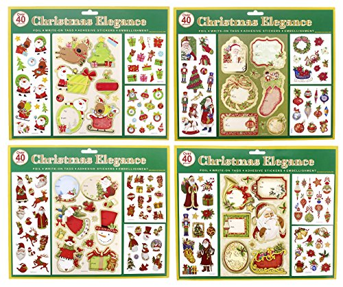 Foiled Holiday Traditional & Classic Christmas Self Adhesive Gift Tags (Stickers Christmas Stocking)