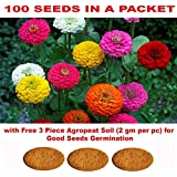 Kraft Seeds Gate Garden Zinnia Flower Seeds with 3 Piece Agropeat Soil for Germination (Multicolour)