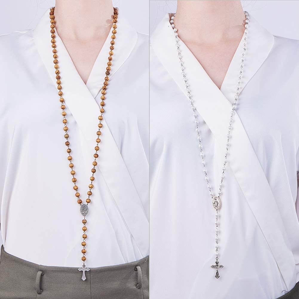 Rosary Centerpiece Instruction 2 Strands 6mm 8mm Handmade Pearl Beads Chains Lobster Claw Clasps Crucifix Jump Rings SUNNYCLUE DIY 2 Set Rosary Making Kit Pearl Bead Rosary Necklace DIY Kit
