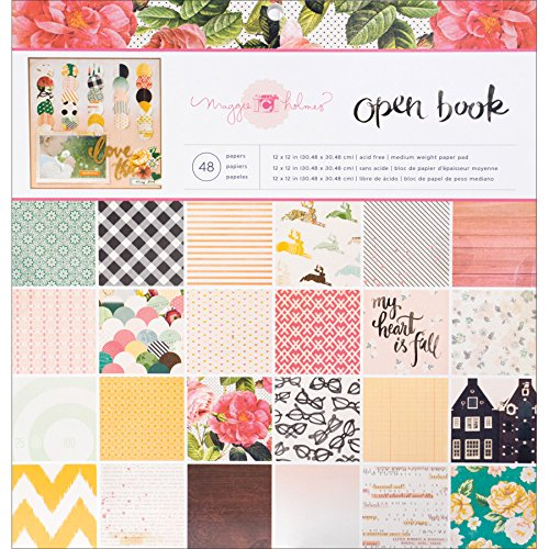 Maggie Holmes Open Book Patterned Paper Pad by Crate Paper |  12 x 12-inch pad | 48 sheets of medium-weight paper in various patterns, 683596