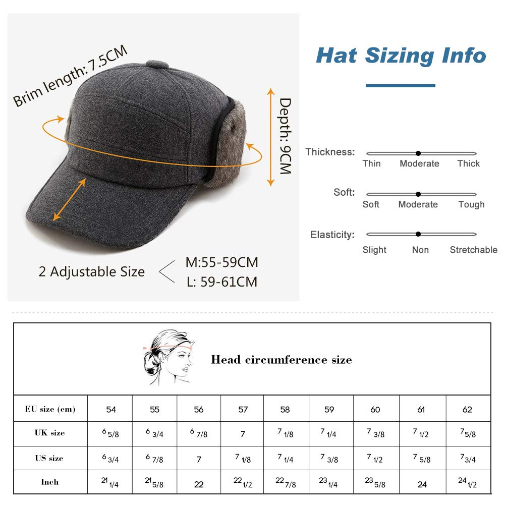 Mens Fitted Wool Baseball Cap Faux Fur Earflap Hunter Winter Army Elmer Fudd Hat Black by Fancet (Image #4)