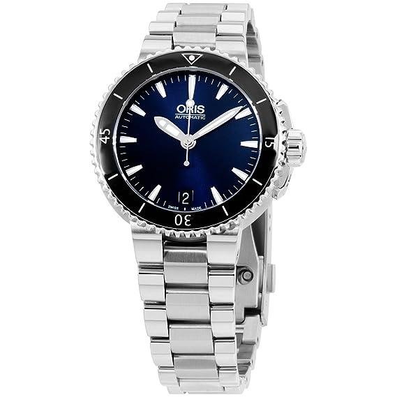 Oris para mujer esfera azul reloj de pulsera de acero inoxidable, 73376524135 mbxg (Certificado