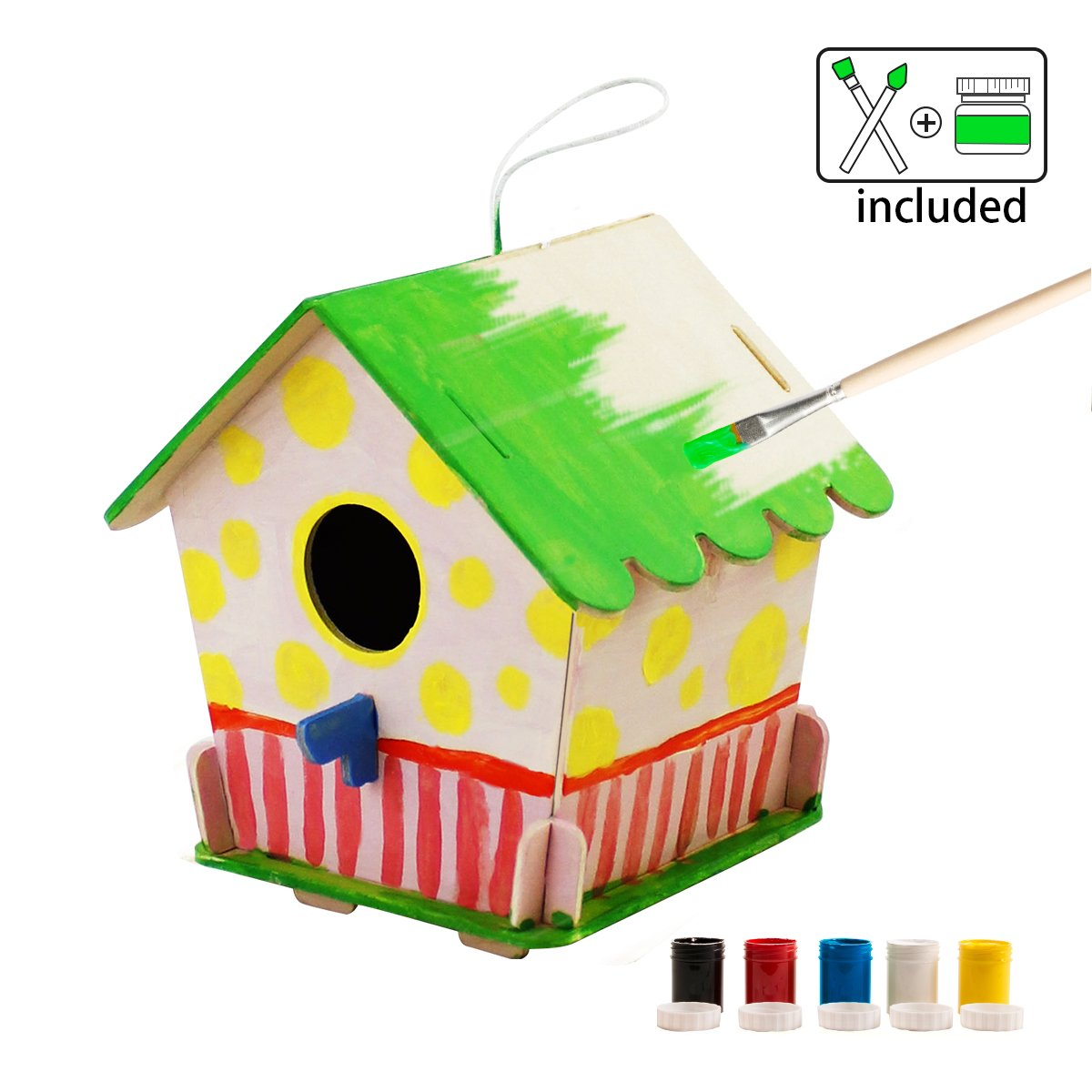 Robotime 3D Build Wooden Bird House Child Educational Woodcraft Puzzle Toy DIY Kit (Birdhouse4)