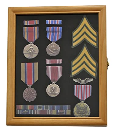 Display Case Cabinet Shadow Box For Pins And Medals, With Glass Door, Oak  Finish