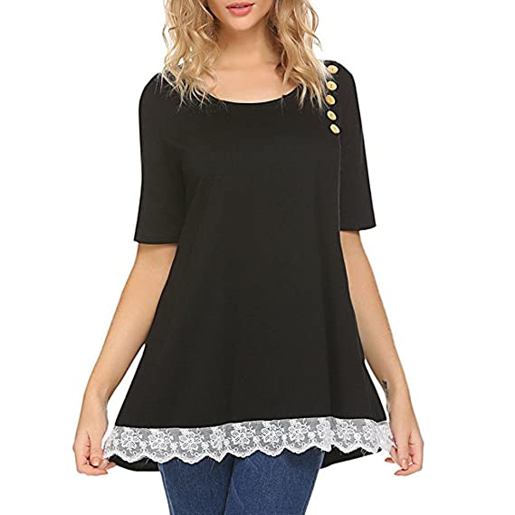 Amazon.com: T Shirts for Womens, FORUU Casual Solid Button Lace Patchwork Comfort Blouse Top: Clothing