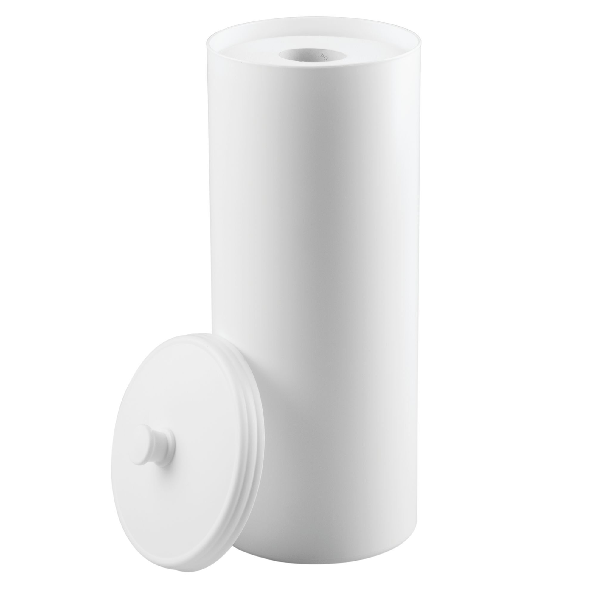 mDesign Plastic Free Standing Toilet Paper Holder Canister with Storage for 3 Extra Rolls of Toilet Tissue - for Bathroom/Powder Room - Holds Mega Rolls - White