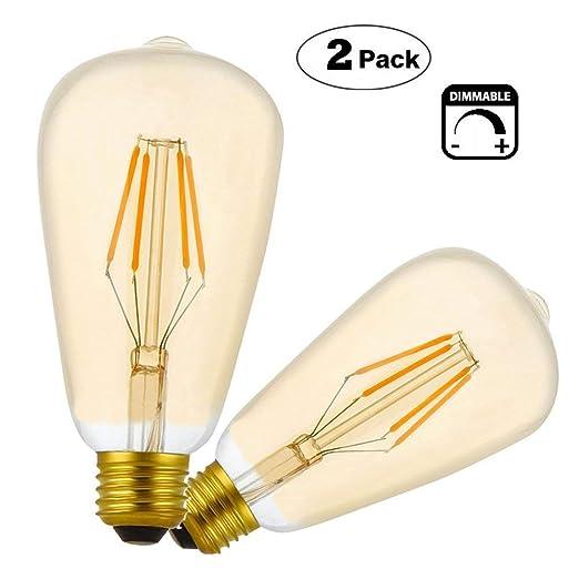 Vintage LED E27 4W Bombilla Filamento,Regulable,ST64 Bombilla de Tornillo Retro Edison LED