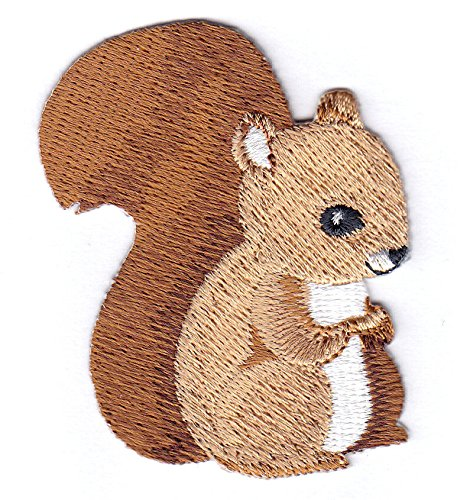 SQUIRREL BABY- FOREST ANIMAL - Iron On Embroidered Applique Patch (Squirrel On Iron)