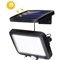 Luz de Solar Exterior, Elfeland Lámpara LED Solar Luz con Sensor de Movimiento con Diatancia de 3-5 Metros Ángulo de Inducción 120° 6000K 56Leds 1000mAh Luces Solares Jardín para Impermeables