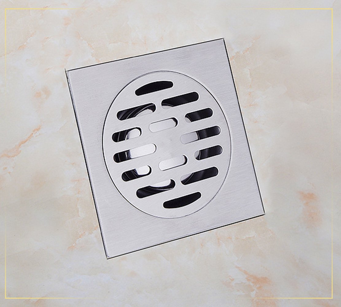 Floor Drain with Removable Cover, 100 x 100 mm Stainless Steel Shower Drain with Drainage Guards, Waste Grate Strainer for Bathroom Toilet Laundry Garden Outdoor Kitchen (Silver-S) T-shin