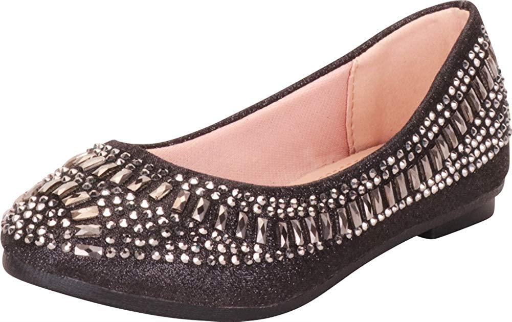 Cambridge Select Girls Slip-On Crystal Rhinestone Ballet Flat