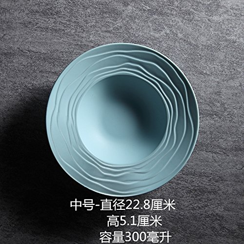 (European ins tableware ceramic straw hat plate breakfast western dish round soup plate fruit plate snack plate 9 inch powder)