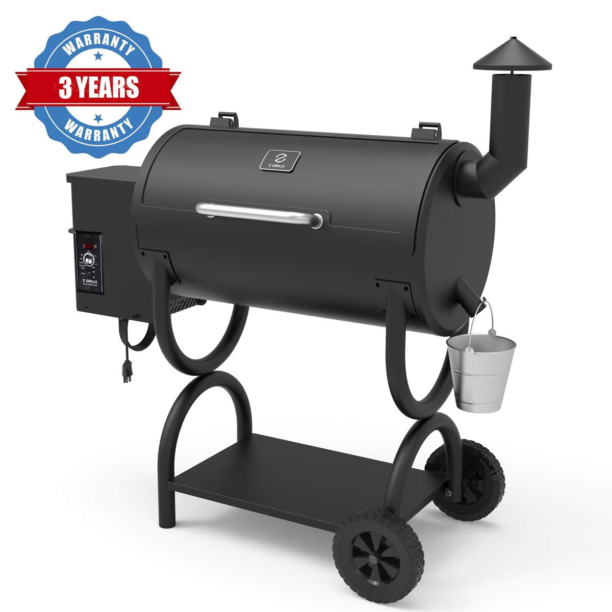Z GRILLS Wood Pellet Grill 2019 Model 7-in-1 BBQ Smoker with PID Controller for Outdoor Cooking 550SQIN Barbecue Area 10LB Hopper (ZPG-550B) by Z GRILLS