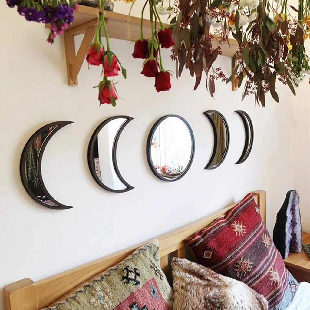 5 Pieces Scandinavian Natural Decor Acrylic Wall Decorative Mirror Interior Design Wooden Moon Phase Mirror Bohemian Wall Decoration for Home Living Room Bedroom Decor - Not Real Mirror(Black)