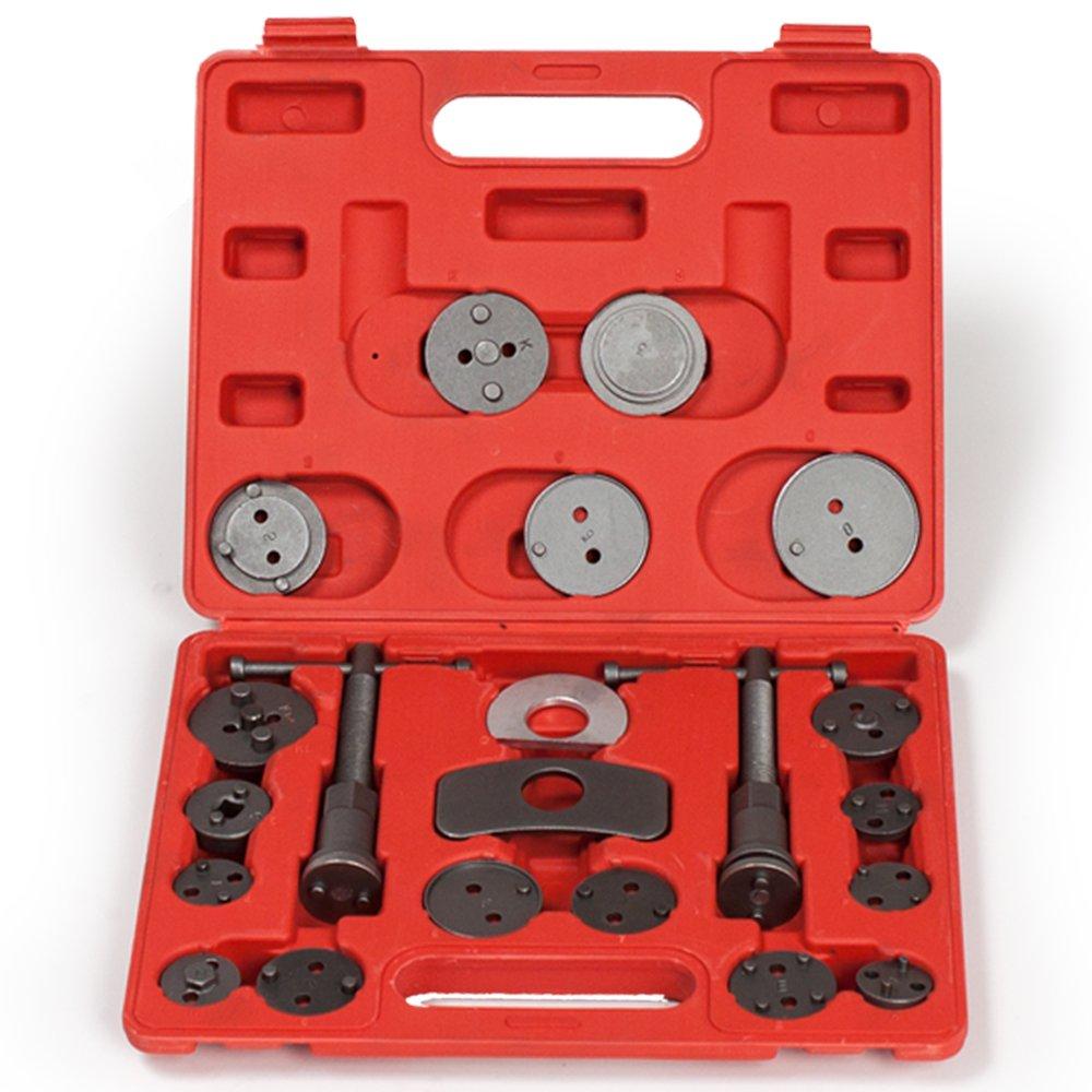 TecTake Set de 22 piezas de reposicionador de pistones de freno con 2 á rboles Reposicionador con maletí n rojo