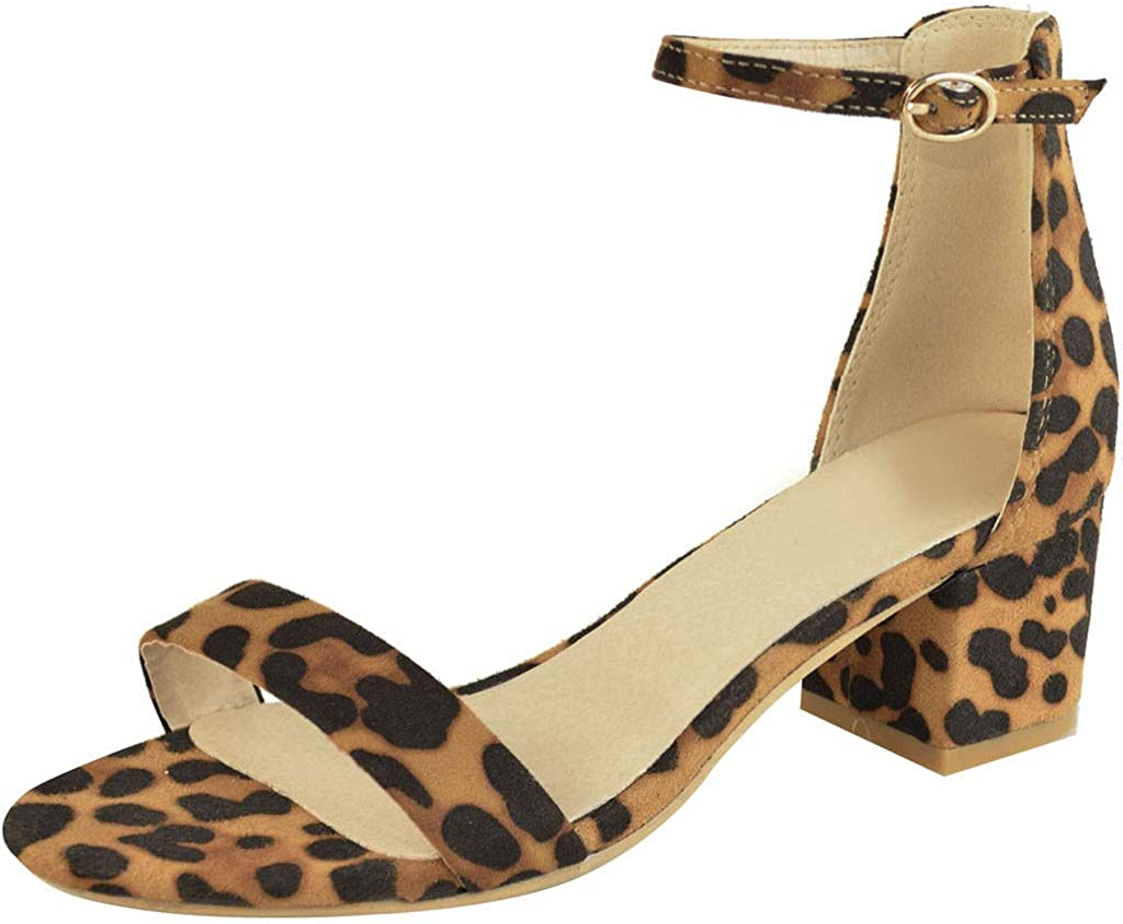 Topgrowth Sandali Donna Tacco Donna Scarpe Estivi Elegante Ragazze Sandali con Tacco Largo Leopardato Cinturino alla Caviglia Estivi Peep Toe Sandali
