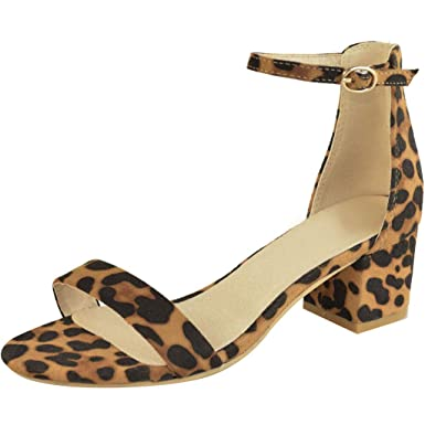 906d34cd954 AJPJ(TM)❤️Women Sandals Sexy Leopard Print Sandals Ladies Ankle One Word  Buckle Thick Heel Sandals US Size 5-9 at Amazon Women s Clothing store