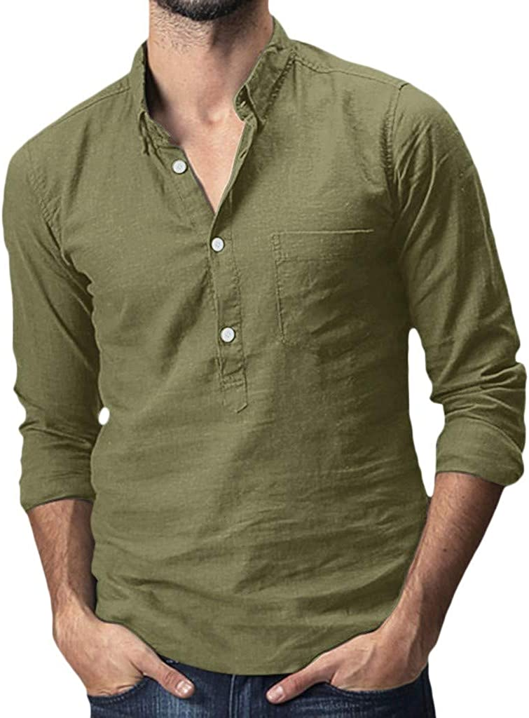 Nicelly Men Button Up Solid Long-Sleeved Plus-Size Cotton Collar Shirt