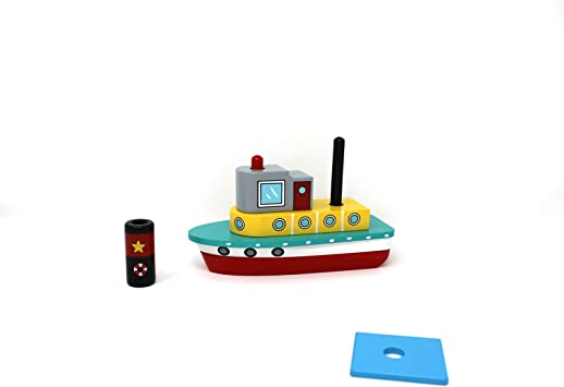 Tugboat Stack /& Play Puzzle Toy Inc Jack Rabbit Creations