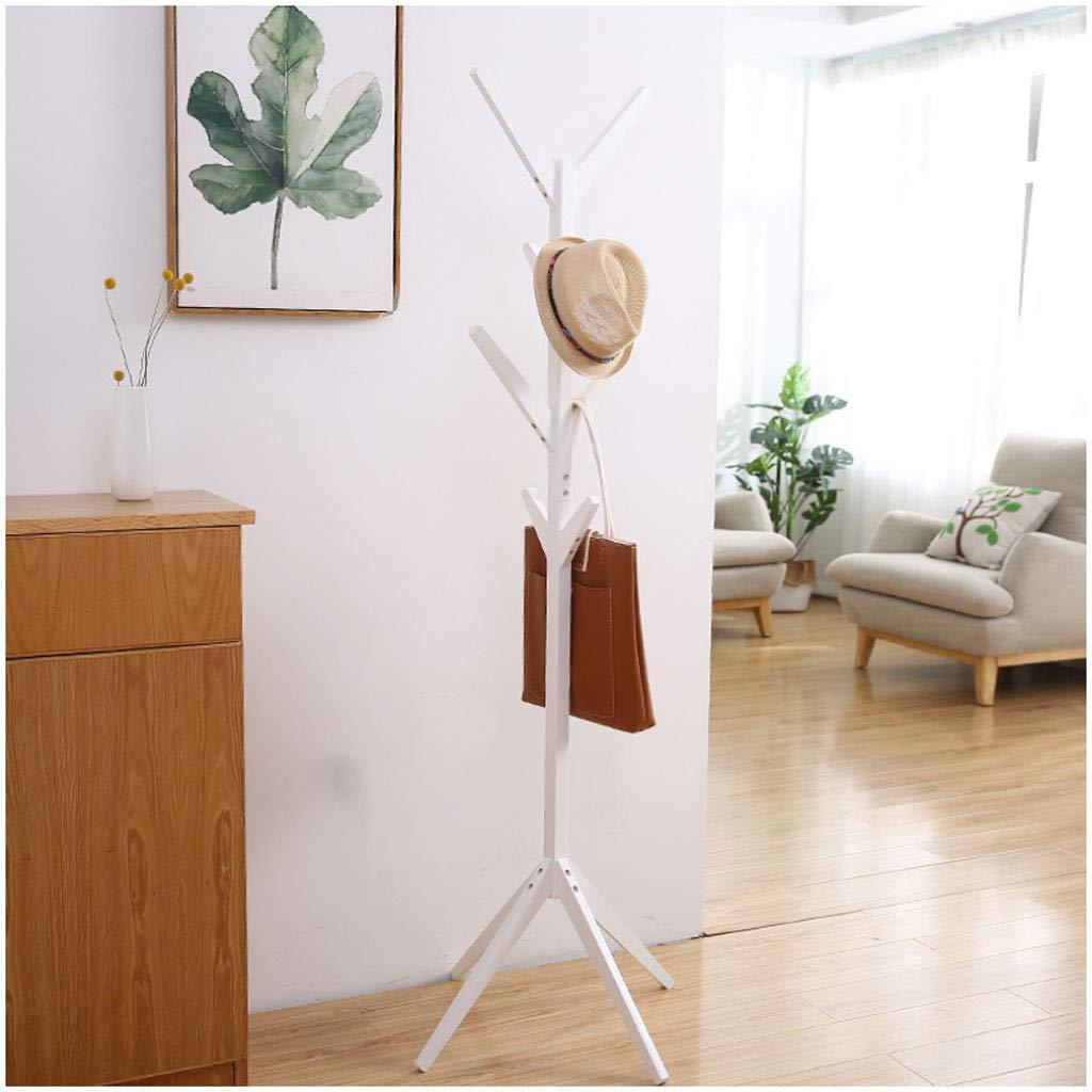 White 4545175cm Coat Rack Simple Coat Rack Creative Tree Solid Wood Floor Hanger Fashion Living Room Bedroom Hanger Multi-Function Save Space (color   Light Coffee, Size   45  45  175cm)