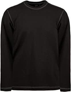 product image for Akwa Made in USA Crew Neck Long Sleeve Shirts for Men Pullover Stylish Topstitch Polyester Cotton Spandex