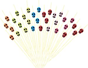 Halloween Skull Skewers, Cocktail Picks, 4.7-inch Bamboo Cocktail Picks for Fruit Appetizer bar Drinks, Party Supplies and Decoration, 300 Pcs with Random Colors