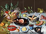 A Still Life of a laid Table, with Plates of Meat and Fish by Jacob van Hulsdonck Tile Mural Kitchen Bathroom Wall Backsplash Behind Stove Range Sink Splashback 4x3 8'' Ceramic, Matte
