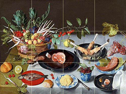 A Still Life of a laid Table, with Plates of Meat and Fish by Jacob van Hulsdonck Tile Mural Kitchen Bathroom Wall Backsplash Behind Stove Range Sink Splashback 4x3 8'' Ceramic, Matte by FlekmanArt