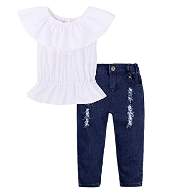a742e4152d792d Image Unavailable. Image not available for. Color  Kids Tales Baby Girl Off  Shoulder White Ruffle 2Pcs Top Jeans Pants Headband Outfit
