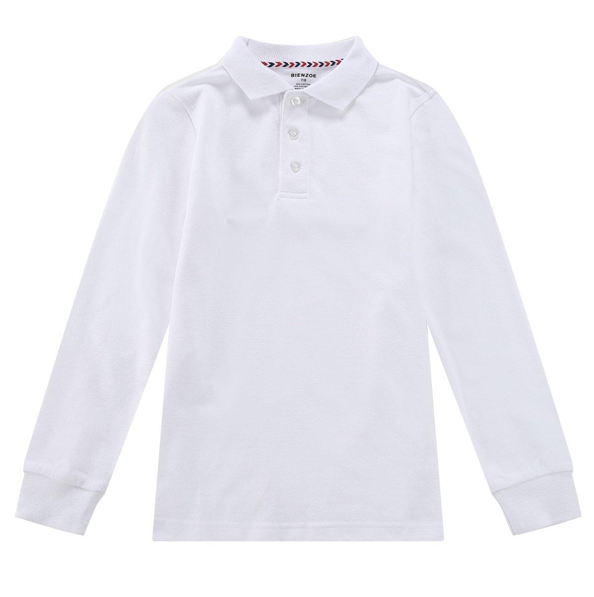 Bienzoe Boy's School Uniform Antimicrobial Breathable Quick Dry Long Sleeve Polo